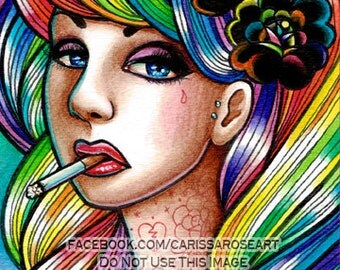 Limited Edition 6 out of 25 5x7 in Art Print - Hard Candy - Tattooed Pin Up Girl With Rainbow Hair