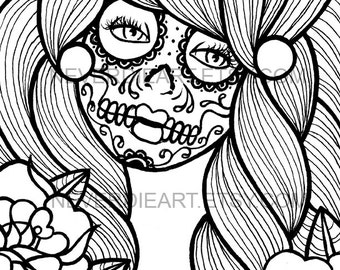 Digital Download Print Your Own Coloring Book Outline Page - Day of the Dead Sugar Skull Girl