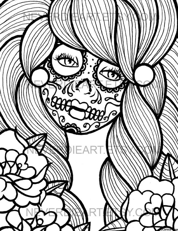 Lovely Digital Download Print Your Own Coloring Book Outline Page   Day Of The Dead  Sugar Skull Girl