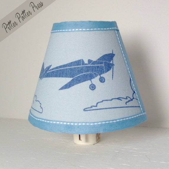 Vintage Airplane Nightlight, Nursery Plane Lighting, Baby Blue Children's Night Light