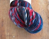 RED STORM Handspun Single Ply Skein Merino Wool Yarn Red Blue Black White 103 Yards