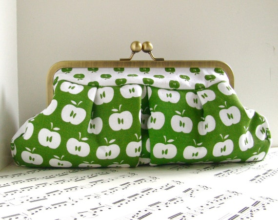 Apple green clutch purse, clutch bag, Fall fashion, OOAK