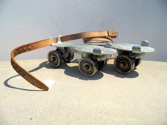 Vintage Metal Skates, Adjustable Metal Skates, Mid Century Toy, Metal Skates with Leather Straps