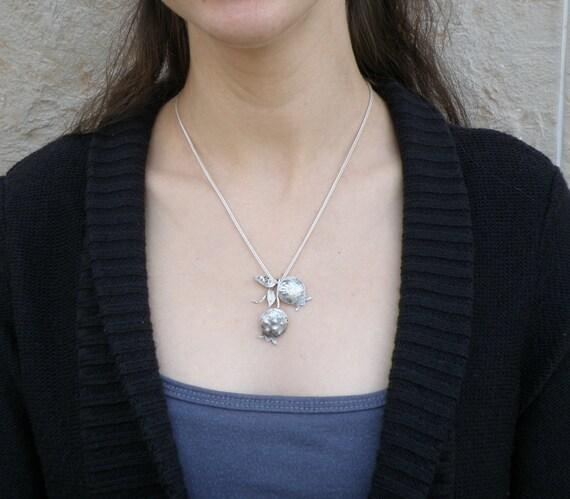 Pomegranate Jewelry, Pomegranates Sterling Silver Necklace, Oxidized Silver Pomegranates Pendant, Judaica, Rustic Pomegranates Branch