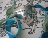 Hand Stamped - Hand Dyed Painted Silk Ribbon Bracelet - Zodiac Constellation - Taurus - The Bull