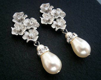Bridal Earrings In Silver With Cubic Zirconia  And Cream Swarovski Crystal Teardrop Pearls