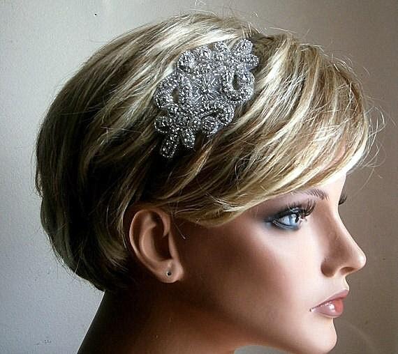 Bridal Headband With Beaded Crystal Rhinestones
