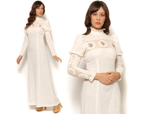 70s Boho Wedding Dress Victorian Maxi Juliet Sleeve Cream Lace Muslin Empire Waist / Hippie Peasant Bohemian / Size S Small