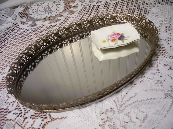 Vintage Oval Vanity Mirror Tray