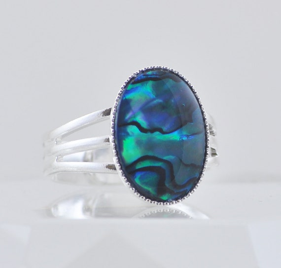 Bright Blue Paua Shell Ring, Thick Silver Adjustable Band, Fits Sizes 6, 7, 8, 9, Aqua Blue, Sapphire Blue, Winter Fashion Jewelry