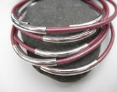 Set of 7 - Metallic Light Purple Leather Bangles with Silver Plated Tube Beads