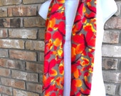 Watercolor Butterflies Fleece Scarf with Fringe - Womens Scarves, For Her, Winter Fashion Accessories, Red, Orange, Yellow, Gray Butterfly