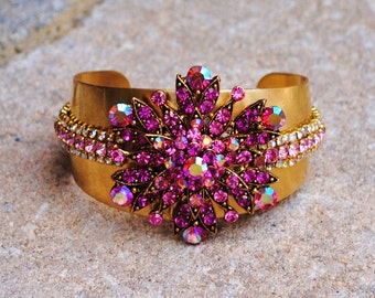 Pink Crystal and Brass Trimmed Cuff Bracelet