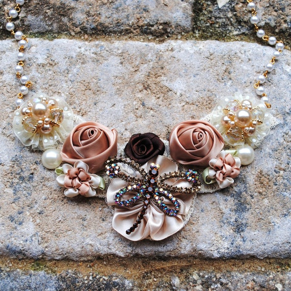 Dragonfly Brown and Cream Floral Crystal Bib Statement Necklace