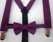 SALE bow tie and suspenders for toddler boy - solid purple plum