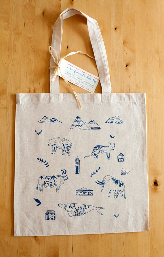 Extinct Animals Silkscreened Canvas Tote Bag