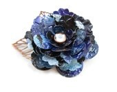 Tea Rose and Copper Leaves Button Brooch/Pin.  Recycled Soda Can Art.  Monster Blue