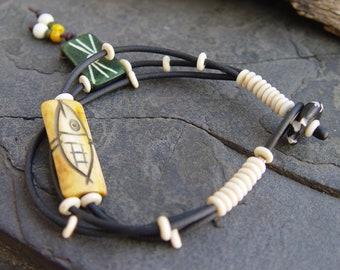 Carved Fish Bone Rubber Three Strand Bracelet Tribal Gypsy Chic Resort Boho Bohemian