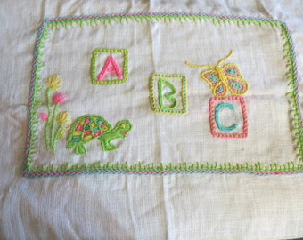 Unframed Crewel Needlework Picture for a Childrens Room