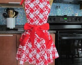 Football Red White Apron, Tailgating Apron, Football, Womens Football Apron, Red Apron, Sports Apron, Football Mom apron, red white apron