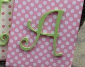 Wall Letters, 8x10 Framed Monogram, Pink and Green Letters, Painted Letters, Wood Letters, Personalized, Monogram