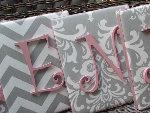 Wall Letters, Pink and Gray Nursery, Gray and Pink Nursery, Damask Letters 8x10, Framed Monogram, Baby Nursery, Painted Letters Personalized