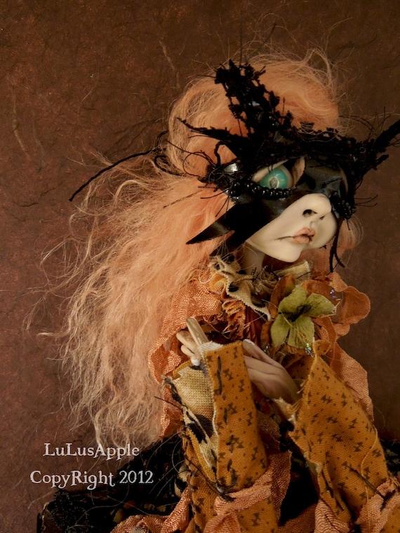 Art Doll Sad Gothic Masquerade masked Halloween Doll OOAK Feliza RESERVED