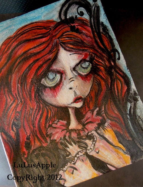 Gothic Art Doll mixed media Acrylic original painting 8x10 Gallery wrapped OOAK