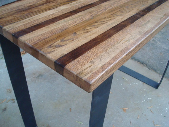 Wood Bar Table High Top Kitchen Table Pub Table Steel Legs