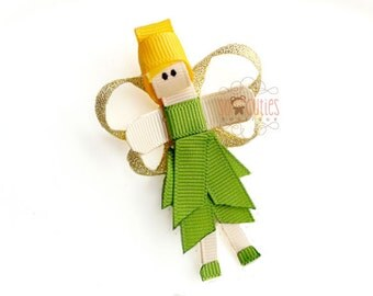 Fairy Princess sculpture ribbon hair clip / baby hair clip / girl hair clip