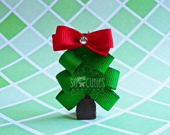 Christmas tree ribbon sculpture hair clip / baby hair clip / girl barrette / non slip hair clip .