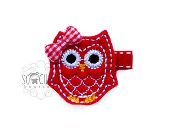 Red OWL Felt hair clip / baby hair clip / girl hair clip / barrette ..