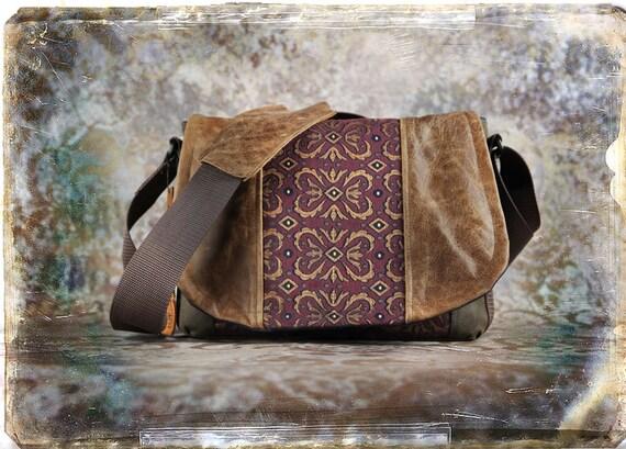Leather Camera Bag  - Burgundy Tapestry Medium DSLR - Pre-Order