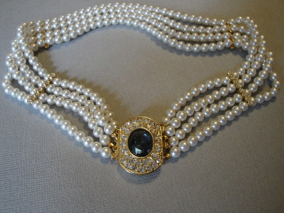Vintage Pearl Choker Necklace with Fancy Rhinestone Clasp multi 4 strands of pearls in gold tone sapphire blue and clear rhinestones bridal