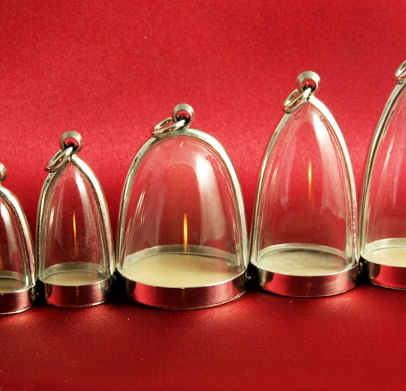 Dome Pendants, 5 Sizes, Empty Blank Cases, Display Miniatures / Art, Silver Tone & Clear Acrylic - ONLY 5 DOLLARS EACH