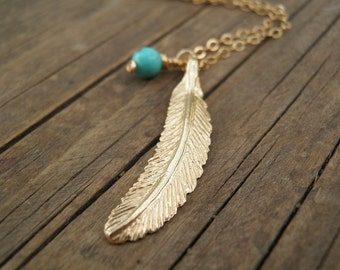Fall Turquoise Necklace, LONG Gold Necklace, Gold Feather Necklace, Feather Jewelry, Minimalist  Pendant, Delicate 14k Gold Fill Necklace