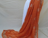 Antique SILK Shawl/Stole. Regency Style MUST SEE. Orange Silk Satin. Hand embroidered in silver gilt threads - RegencyRegalia