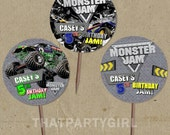 DIY personalized Monster Truck Party Favor Tags Cupcake Toppers - digital U Print
