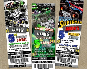 12 Monster Truck Birthday Party Ticket Style Invitations