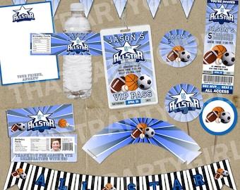 Ultimate ALLSTAR Party  Package - Invitations Decorations Favors - DIY digital file U Print