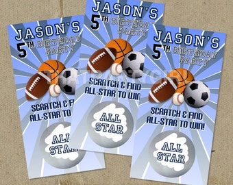 12 ALLSTAR Birthday Party Scratch Off Game Cards