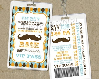 12 Mustache Bash Party VIP PASS Style Invitations