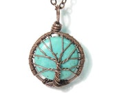 The Itty Bitty Turquoise Tree of Life Necklace in Antique Copper.