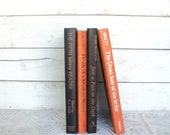 Black, Orange Halloween Books Instant Library Book Collection By Color Vintage Decorative Books Photography Props Modern Vintage