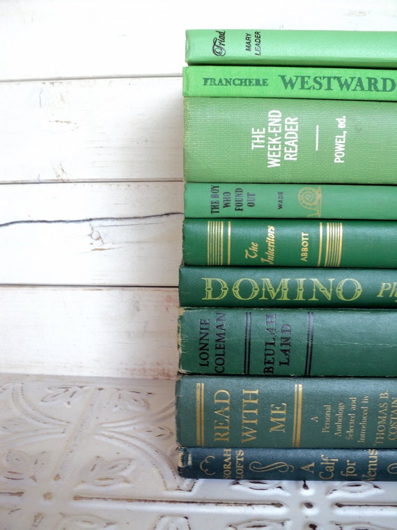 Green Books Ombre Instant Library Collection Decorative Books Photography Props Shades of Green