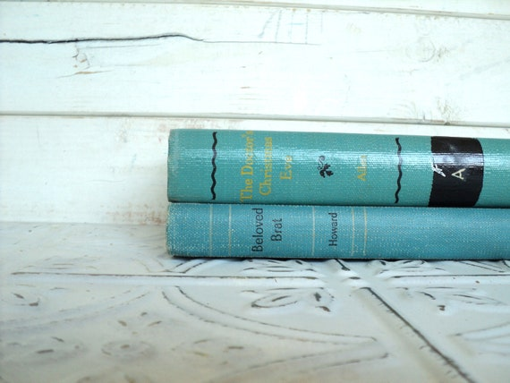 Aqua Blue  Books Instant Library Collection Decorative Books Photography Props Stack of Books