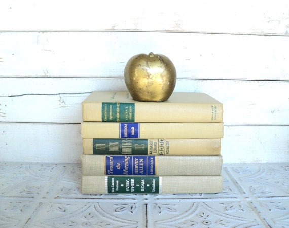 Tan Books Instant Library Collection Vintage Decorative Book Bundle Photography Props Brown, beige, blue, green