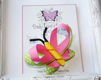 Hot Pink Green Butterfly Bow.  Sculpture Clippies' Hot Pink Apple Green Butterfly Ribbon Sculpture Clip. Free Ship Promo.