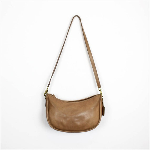 Coach nude leather hobo / taupe small shoulder bag