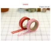 Washi Tape 15mm 2Rolls Masking Tape Set Multi Use- CANDID